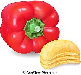 patata, isolato, illustrazione, paprica, vettore, patatine fritte, 3d