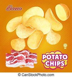 patata, pancetta affumicata, imballaggio, vettore, disegno, pubblicità, patatine fritte, flavor.