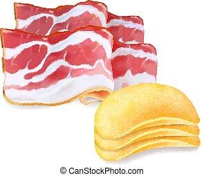 patata, pancetta affumicata, isolato, illustrazione, realistico, aroma, patatine fritte, 3d
