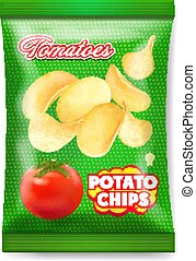 patatine fritte, isolato, pomodori, pacchetto