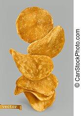 patatine fritte, patata, pacchetto, realistico, vettore, design., 3d