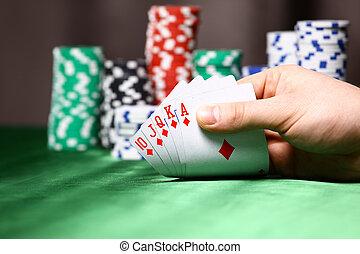 patatine fritte, posto, poker, player., scheda