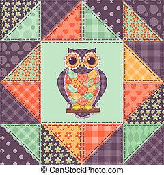 patchwork, gufo, 1, seamless, modello