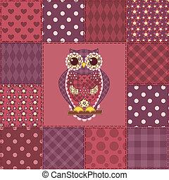 patchwork, gufo, 3, seamless, modello