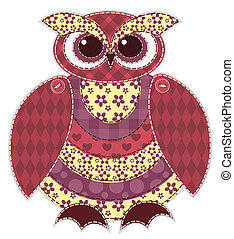 patchwork, gufo, isolato, rosso