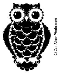 patchwork, silhouette, owl.