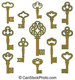 patina, decorazione, chiavi, bronzo