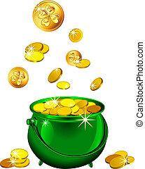 patrick`s, oro, st., monete, giorno, vettore, verde, vaso