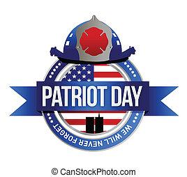 patriota, combattenti fuoco, illustrazione, seal., giorno