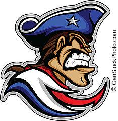 patriota, grafico, illus, vettore, media, espressione, cappello, mascotte