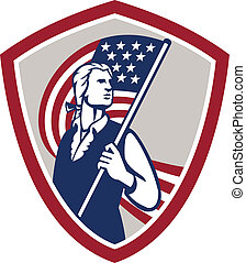 patriota, scudo, bandiera usa, americano, presa a terra