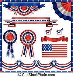 patriottico, americano, elementi