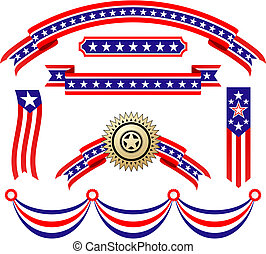 patriottico, americano, nastri