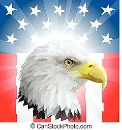 patriottico, aquila, bandiera americana