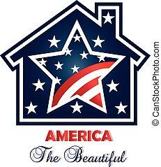 patriottico, casa, vettore, logotipo