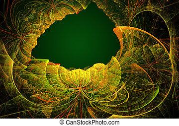 patte, astratto, illustrazione, fondo, floreale, fractal, cornice