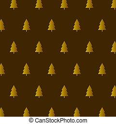 pattern., illustration., modello, oro, elegante, vettore, albero natale