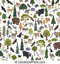 pattern., map., naturale, seamless, uccelli, animali, foresta, biome, terrestre, disegno, montane, ecosistema, vegetations, regione, mondo, set