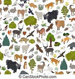 pattern., map., piante, naturale, seamless, uccelli, apine, animali, tundra, biome, terrestre, disegno, ecosistema, regione, mondo, set