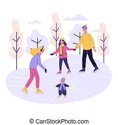 pattinaggio, attività inverno, famiglia, ghiaccio, rink., felice, esterno