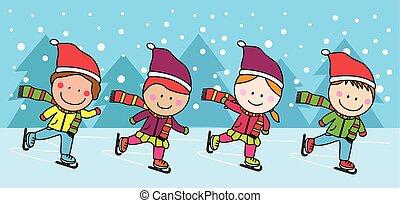 pattinaggio, bambini, ghiaccio