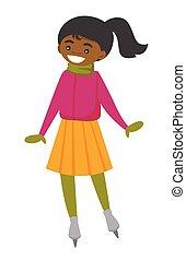 pattinaggio, donna, africano-americano, outdoor., pista di pattinaggio