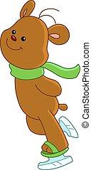 pattinaggio, orso, ghiaccio, teddy
