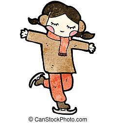 pattinaggio, ragazza, cartone animato, ghiaccio