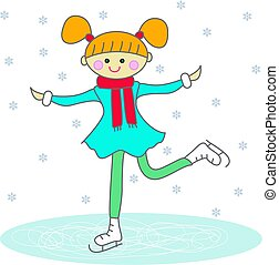 pattinaggio, ragazza, cartone animato