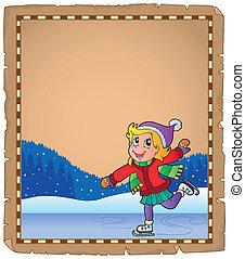 pattinaggio, ragazza, pergamena, ghiaccio
