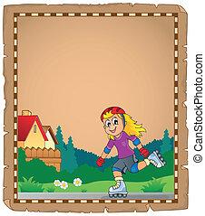 pattinaggio, ragazza, pergamena, rullo