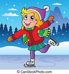 pattinaggio, ragazza, scena inverno