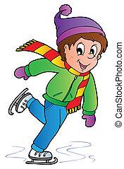 pattinaggio, ragazzo, cartone animato