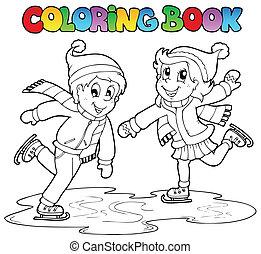 pattinaggio, ragazzo, ragazza, libro colorante