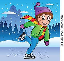 pattinaggio, ragazzo, scena inverno