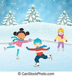 pattinaggio, scena, bambini, inverno