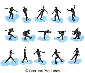 pattinaggio, silhouette, set, grunge, figura