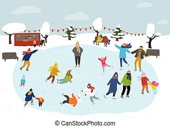 pattinaggio, winter., outdoors., persone, pista di pattinaggio
