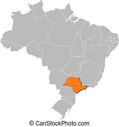 paulo, mappa, evidenziato, sao, brasile
