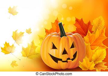 pauroso, foglie, vettore, halloween zucca