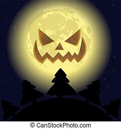 pauroso, luna sorridente