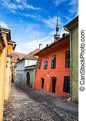 pavimentato, strada, sighisoara, medievale, transylvania.