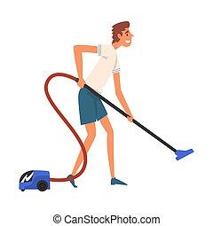 pavimento, illustrazione, lavori domestici, vettore, vacuuming, tipo, uomo