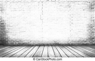 pavimento, legno, sfondo bianco, parete, mattone