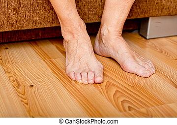 pavimento, piedi, vecchia