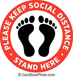 pavimento, sticker., o, distancing, signage, sociale