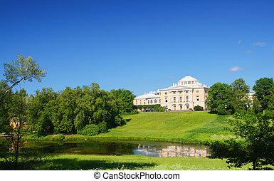 pavlovsk, parco, collina, palazzo