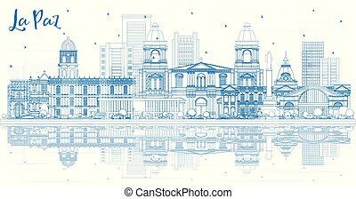 paz, reflections., la, costruzioni, bolivia, skyline città, contorno, blu