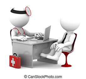 paziente, ufficio, dottore, medico, parlare, consultation.