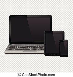 pc tavoletta, mobile, isolato, laptop, telefono, computer, fondo, trasparente